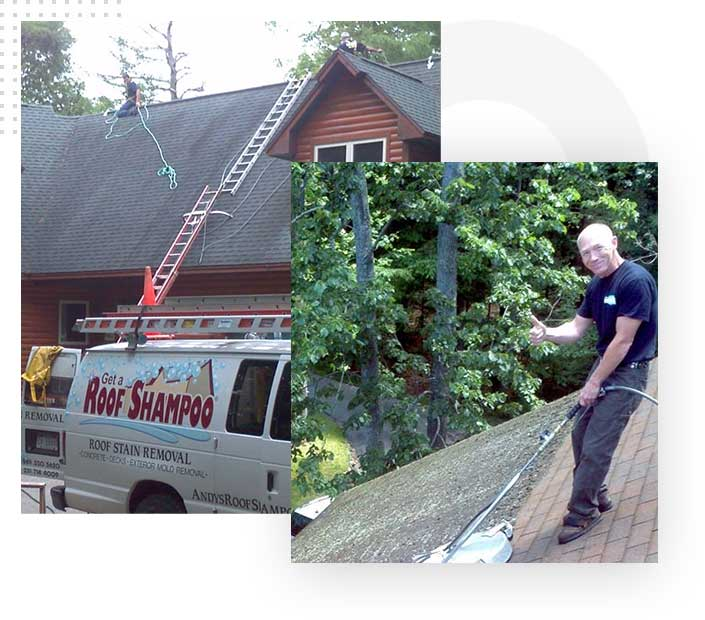 Cleaning dirty roof stains and moss