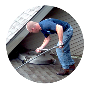 Roof cleaner removes brown stains on roof